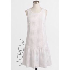 J. Crew white eyelet drop waist ruffle dress 10 M